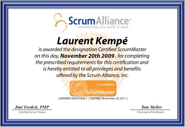 Certified ScrumMaster - Laurent Kempé